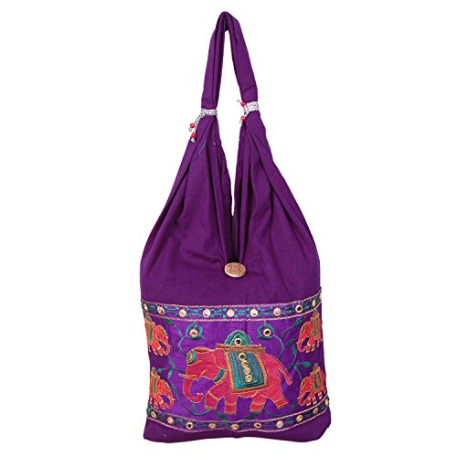Womaniya Purple Canvas Handicraft Jhola Bag For Women  available at amazon for Rs.159