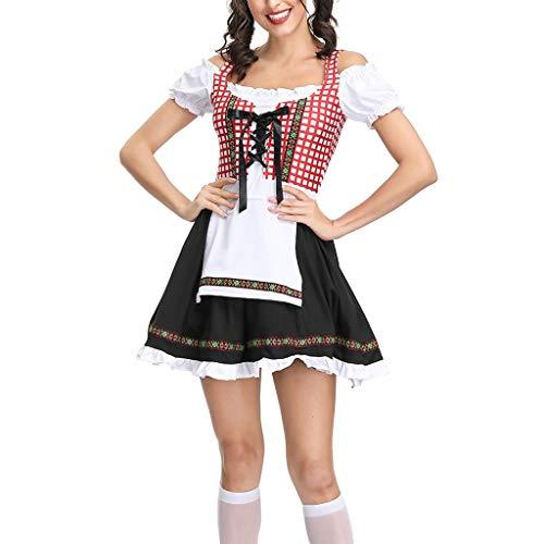 MAZHANG Frauen Oktoberfest Dirndl Kostüm Red Plaid Deutsches Bierfest, Mädchen Cosplay Bayerisches Dirndl Kleid Halloween Kostüm/Dienstmädchen Kostüm Kostüm/Kleidung Schuhe & Accessoires -> Kleid (L) (Halloween-kostüme Bar Verwandten)
