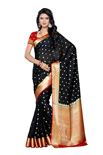 Mimosa Women's Traditional Crepe Silk Saree Kanjivaram Style With Blouse Color:Black(3312-2087-BLK-MRN )  available at amazon for Rs.1699