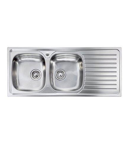 Lavello cucina Siros ad incasso in acciaio Inox, misura cm.116x50, con 2 vasche a sinistra e gocciolatoio a destra, completo di scarico