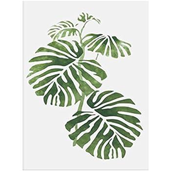 Feuilles de plante verte décoratives art peinture murale, Toile, N°4, 30cm x 40cm