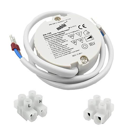 Elektronischer Transformator 20-70VA / 12V / 230V Einbau Trafo EN-70 R DC für Halogen Niedervolt Leuchtmittel Rundtrafo incl. 2x Lüsterklemme