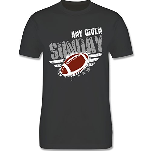 Shirtracer American Football - any Given Sunday Football - L - Dunkelgrau - L190 - Herren T-Shirt Rundhals