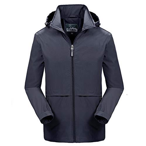Crazboy Winter Wasserdicht Kapuzen Pullover Mantel Herren Beiläufig Hut Abnehmbar Atmungsaktiv Sport Draussen Mantel(Medium,Grau)