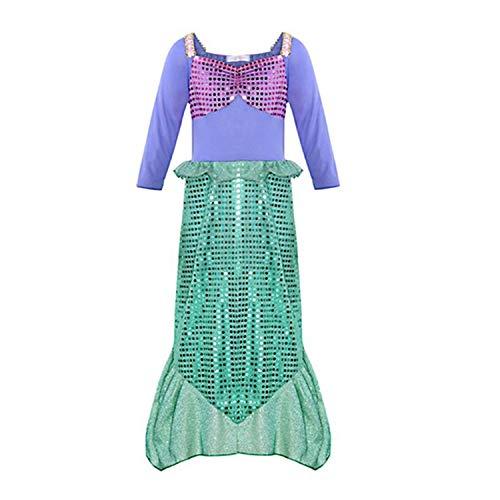 RBHSG Girls Little Mermaid Princess Fancy Dress Up Costume Children Summer Ariel Dresses Kids Birthday Party Outfit Clothing Blue 8 (Ice Cream Girl Kostüm)