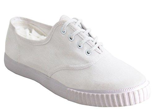 Dek Boys Girls Unisex Lace Up Canvas Casual Black White Flat School Pumps Plimsolls Trainers Shoes Infant-Youth Sizes 10-5