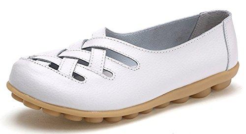 Eagsouni Damen Mokassins Bootsschuhe Leder Loafers Schuhe Flatschuhe Halbschuhe Flache Fahren Halbschuhe Slippers (Damen Mokassin Hausschuhe)