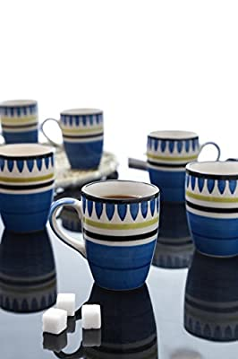 Beautifully Handpainted in Blue - Set of 6 Large Coffee Mugs