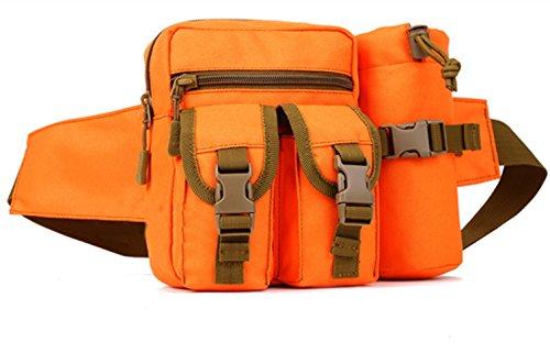 Sport Tent Camping Outdoor Tasche Taktische Sport Wasserdicht Hüfttasche mit Flasche Taille Tasche Gürteltasche Pouch für Wandern Laufen Radfahren Camping Reise Klettern Trekking Jagd (Orange)