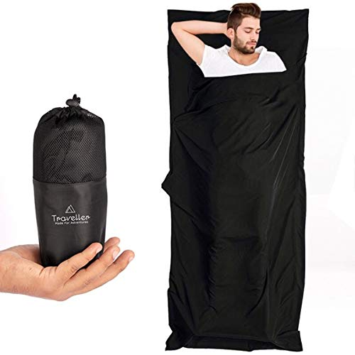 Traveller 2in1 Hüttenschlafsack mit durchgängigem Reißverschluss: Leichter Komfort Reiseschlafsack und XL Reisedecke in Einem - Sommer Schlafsack Inlay - Ideal für Reisen durch Warme Länder -