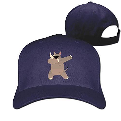 Pimkly Unisex Hüte,Baseballmützen, Rhino with Sunglasses Dabbing Cotton Pure Color Baseball Cap Classic Adjustable Sun Hat