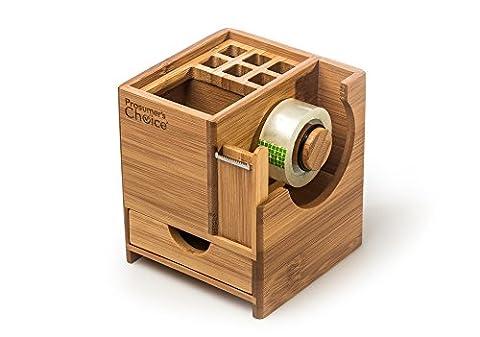 Prosumer le choix du bureau Caddy Organiseur de bureau en bambou avec porte-stylo, Dévidoir de ruban, stockage, frisé et bac extractible