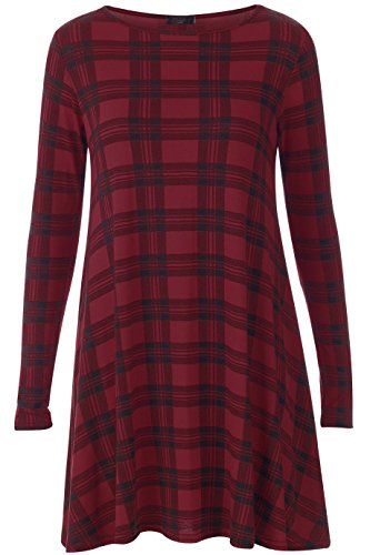 Comfiestyle - Robe - Patineuse - Manches Longues - Femme Bordeaux