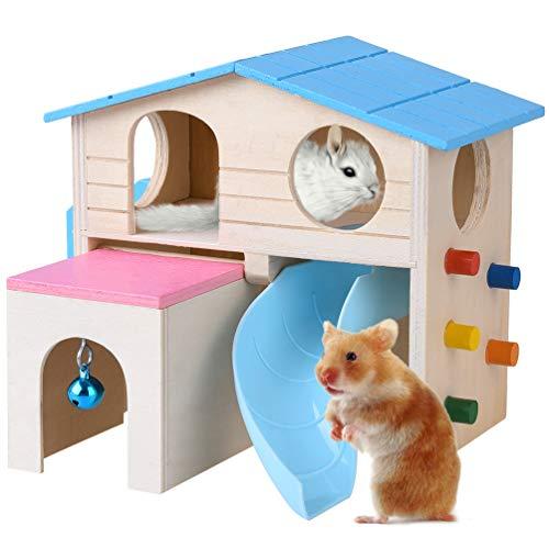 Petacc Hamsterhaus Ausgestattet mit Rutsche, Schublade-Stil Hütte, Hängende Glocke, Leiter und Kletterwand, Holz Materialien( 18*15*15.5cm)