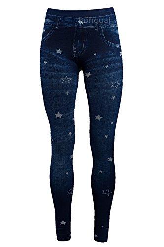 Bongual Damen Jeggings Jeans Optik Leggings Schlupfhose Sterne