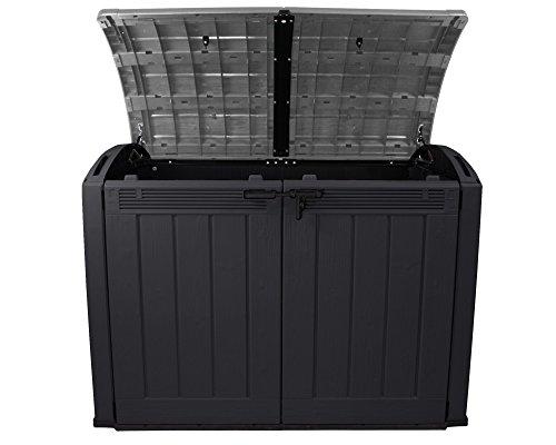 Keter Mülltonnenbox Fahrradgarage Ultra Gerätebox Gartenbox Gartenschuppen XXL (Anthrazit / Grau) - 3