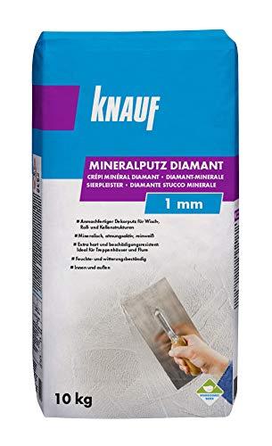 Knauf Mineralputz Diamant 1,0-mm Körnung - mineralischer Dekor-Putz, als Decken-, Wand-Belag oder Außen-Putz, kratzfest und witterungsbeständig, Weiß, 10-kg