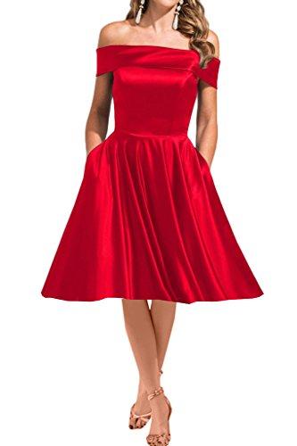 ivyd ressing Damen Modern Scollo a U Satin a della linea lungo abito del partito Prom abito Fest vestito abito da sera Rot-Kurz