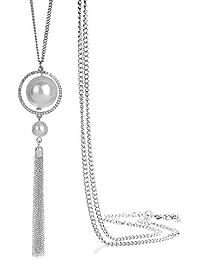 3761aff4437c ONNEA Collares Plata Largos con Colgante Perlas Borla para Mujer