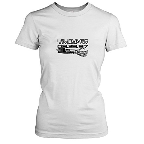 y - Damen T-Shirt, Größe XL, weiß (Terminator Sarah Connor Kostüm)