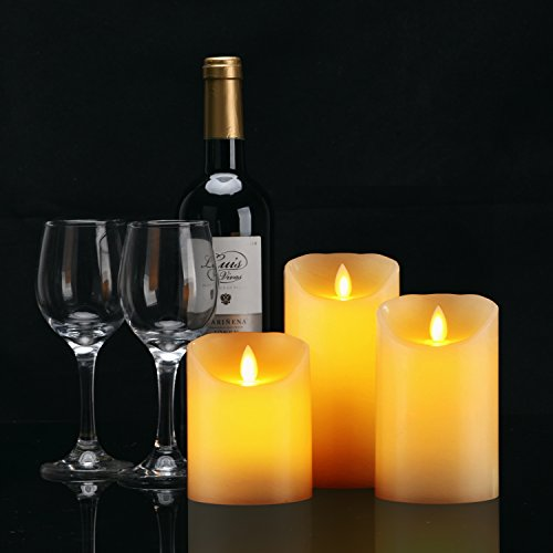 Daby's LED Candle, 3 Velas decorativas (10 cm, 12,8 cm, 15,2 cm), Vela sin llama de 300 horas y control remoto de 10 botones. Llama LED parpadeante, hecha de parafina real