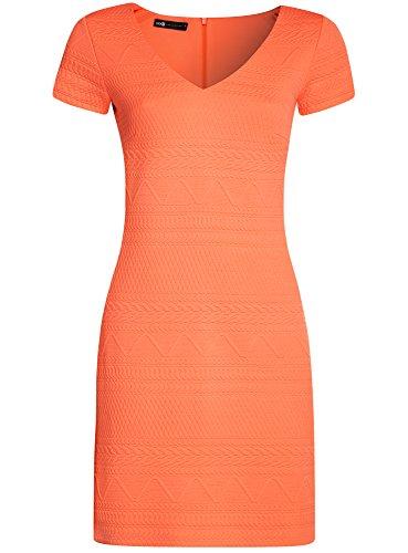 oodji Collection Damen Kleid aus Strukturiertem Stoff mit V-Ausschnitt Orange (5500N)