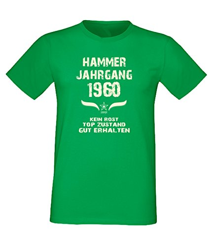 Geschenk Zum 57. Geburtstag, Fun -Spr?che - Motiv T-Shirt, in Hell-Gr?n, Hammer Jahrgang 1960, Top Zustand Hellgrün