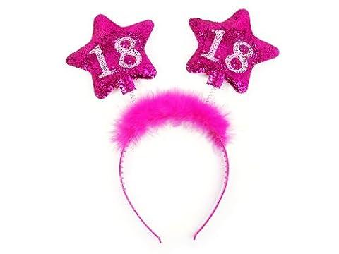 Haarreif mit Federn und Sternen Scherzartikel Tiara Geschenk-Idee (pink 18) (Ideen Für Ein Geschenk)