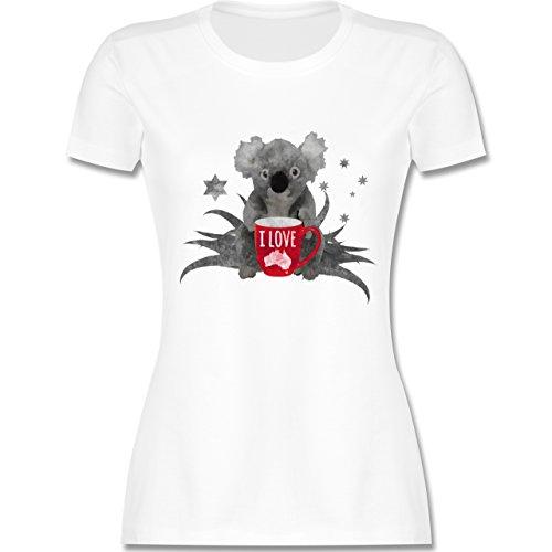 Kontinente - I love Australien Koala - tailliertes Premium T-Shirt mit Rundhalsausschnitt für Damen Weiß