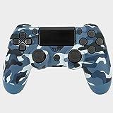 Mando a distancia inalámbrico con cable USB compatible con PS4 - camuflaje azul