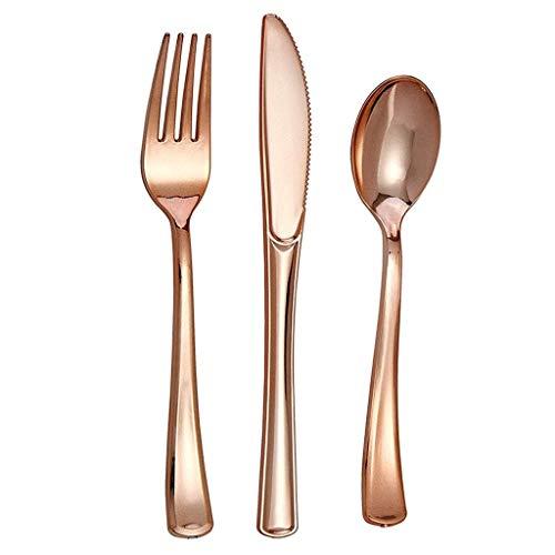 OLT -Tableware Roségold Einweggeschirr Combo, Plastikbesteck 50er Set (50 Gabeln, 50 Löffel, 50 Messer) Geeignet für Geburtstagsfeiern, Bankette (Einfachheit Besteck Set)