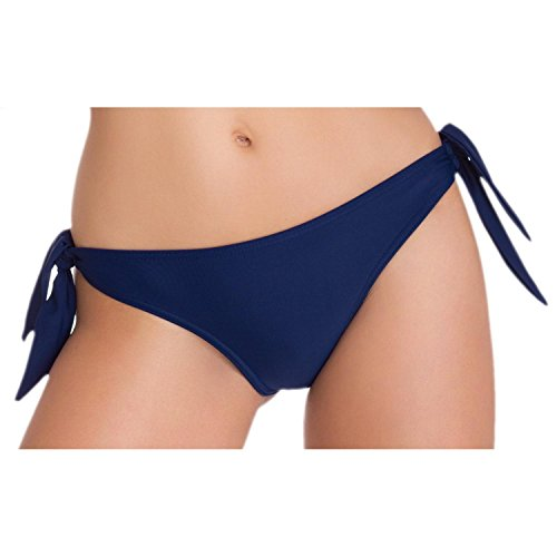 Aquarti Damen Tanga Bikinihose Seitlich Gebunden Brasilian, Farbe: Dunkelblau, Größe: 38