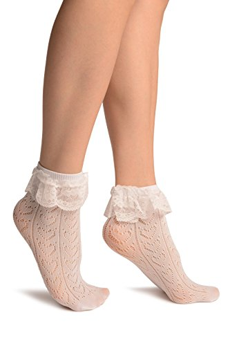 White Crochet Lace With Ruffled Lace Top Ankle High Socks - Weiß Socken Einheitsgroesse (37-42) (Ruffled Lace Top)
