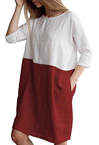 Minetom Kleider Damen Tunika T Shirt Kleid Freizeit Strandkleid Minikleid Shirtkleid Longshirt Pullover Sommer Mode Spleißfarbe Dress Rot DE - Red Flapper Sexy Kostüm