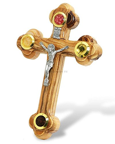 Bethlehem Gifts TM Kreuz Kruzifix-orthodoxe 14Station 4Objektiv Essenzen Olivenholz, 18 cm