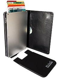 MolinQ Cartera para Tarjetas de Crédito | Tarjetero Pequeño para Hombre y Mujer | Bloqueo RFID | Incluye 1 Mini Cartera Gratis | Titular de la Tarjeta Negro