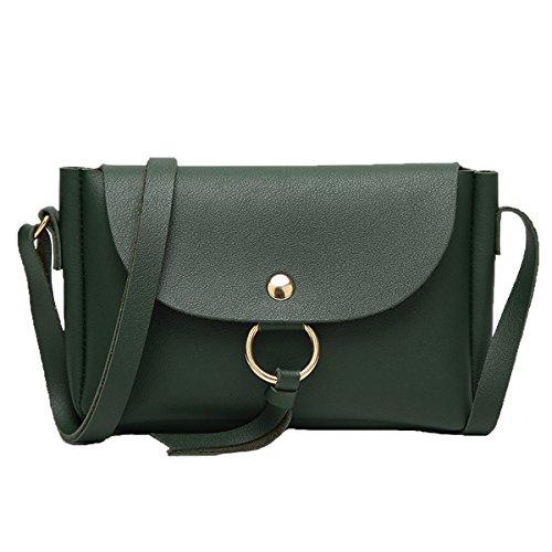 Frauen Arbeiten PU-Leder-Handtaschen-Schulter-Kurier Taschen Multicolor Green