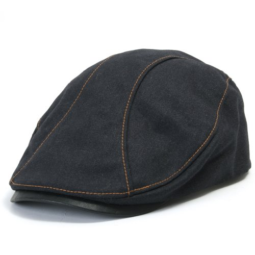 ililily Leather Bill Newsboy Flat Cap Cabbie Gatsby ivy Irish Driver Hunting (flatcap-510-2)