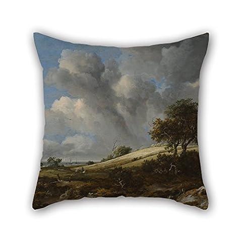 Bestseason couvertures de taie d'oreiller de peinture à l'huile Jacob. van Ruisdael–A Cornfield avec le Zuiderzee dans le fond, pour la maison, au bureau, en plein air, amoureux, chaise, fils, enfants garçons 40,6x 40,6cm/40de 40