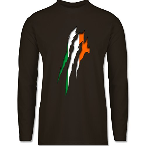 Länder - Irland Krallenspuren - Longsleeve / langärmeliges T-Shirt für Herren Braun