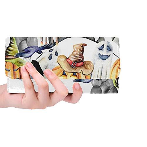 -Schablonen-Rahmen Halloween wendet Frauen-dreifachgefaltete Mappen-Lange Geldbeutel-Kreditkarte-Halter-Kasten-Handtasche EIN ()