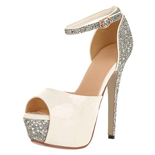 YE Damen Peep Toe 13cm Heels High Heel Plateau Stiletto Knoechelriemchen Pumps Schuhe Sommer Pailletten Braut Hochzeit Sandalen