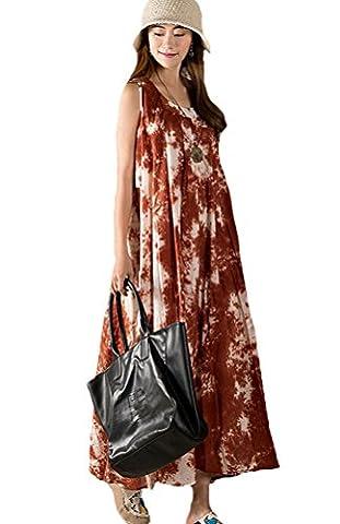 Voguees Women's Printing Sleeveless Sundress Robe Orange