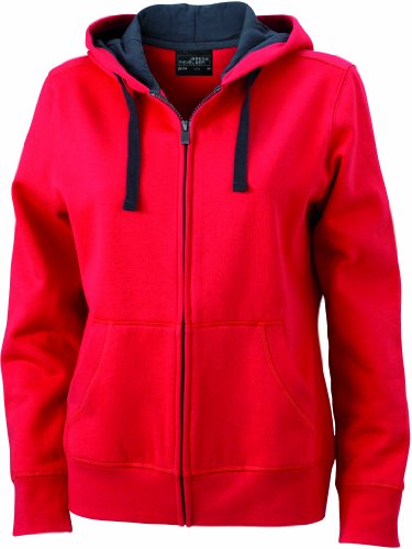James & Nicholson Damen Sweatshirt Sweatjacke Ladies' Hooded Jacket rot (red/cabon) XX-Large