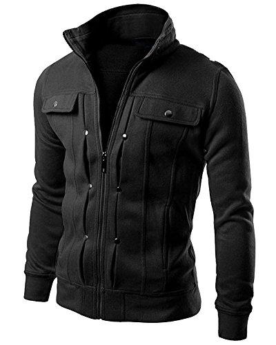 Minetom uomo giacca cappotto outerwear tops sportivo moda zip hoodies felpa sweatshirt con tasca pratico primavera autunno nero eu xxl
