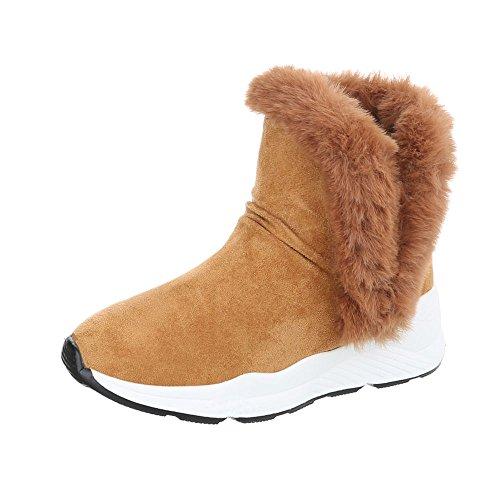 Ital-Design Snowboots Damen-Schuhe Klassische Stiefel Warm Gefütterte Stiefeletten Camel, Gr 38, R-303-