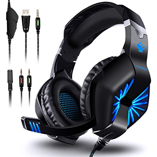 Gaming Headset für PS4 Xbox One, ELEGIANT Gaming Kopfhörer Over Ear Headphone mit LED Light Stereo sound rein Bass drehbarem Mikrofon für Playstation 4 Switch PC Computer Laptop Tablet Mac