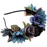 MagiDeal Venda de Flor Boho Corona de Cabeza de Pelo Guirnalda de Novias de Boda Decoración de Pelo de Mujeres Azul/Rosa/Beige - Azul