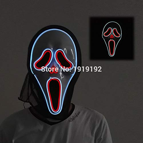 HITSAN INCORPORATION 24 Style The V for Vendetta Party Cosplay Masque LED Neon Mask EL Wire Flashing V Party Mask for Halloween for Party Decoration