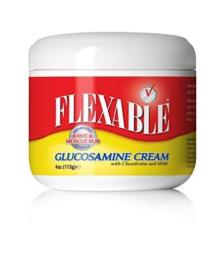 Rub-creme (Glucosamin-Massage-Creme von Flexable, 4 Unzen mit Chondroitin und MSM, enthält Boswellia, Vitamin E, Kokosöl, Aloe Vera-Saft, Süßholzwurzel und Yerba Mate-Blatt-Extrakt (Ilex), um eine effektive Gelenk-und Muskel-Rub (4 OZ))